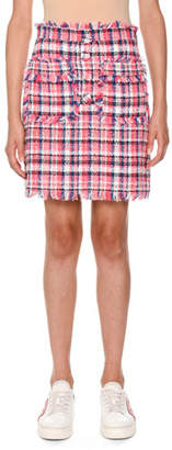 MSGM Frayed Plaid Tweed Skirt