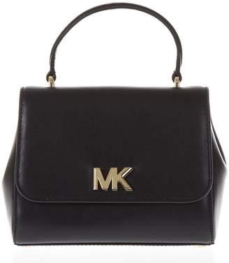MICHAEL Michael Kors Black Leather Handbag With Mk Metal Logo