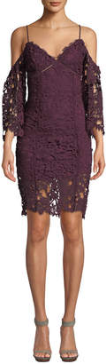 Astr Giselle Cold-Shoulder Layered Lace Dress