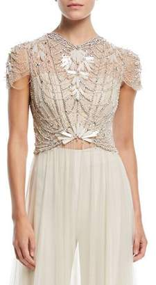 Jenny Packham Cap-Sleeve Crystal-Beaded Top with Long Tulle Skirt