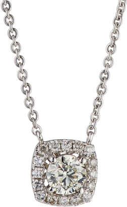 Neiman Marcus Diamonds 14k White Gold Diamond Cushion Solitaire Pendant Necklace, 0.86tcw