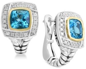 Effy Balissima by Blue Topaz (2-1/2 ct. t.w.) & Diamond (1/6 ct. t.w.) Drop Earrings in Sterling Silver & 18k Gold