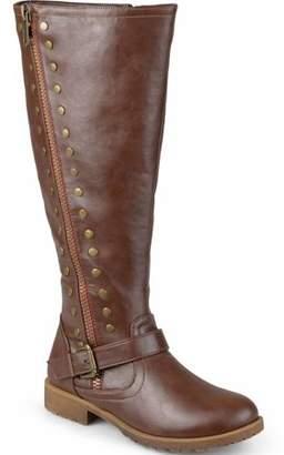 Brinley Co. Women's Wide-Calf Zipper Studded Riding Boots
