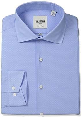 Ben Sherman Men's Slim Fit Diamond Dobby Spread Collar Dress Shirt