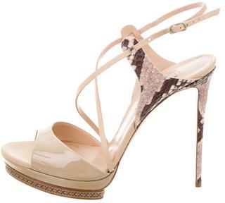 Casadei Snakeskin Platform Sandals $175 thestylecure.com