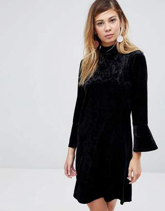 Monki High Neck Velvet Dress