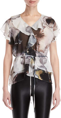 Religion Thrill Printed Ruffled Top