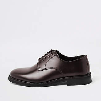 River Island Burgundy high shine leather derby shoes
