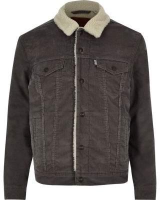 Levi's grey faux shear cord trucker jacket