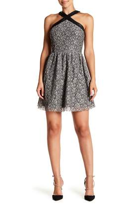 Moon River Lace Faux Leather Trimmed Mini Dress