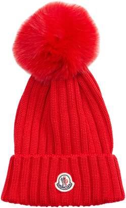be2bb614619 Moncler Genuine Fox Fur Pom Wool Beanie