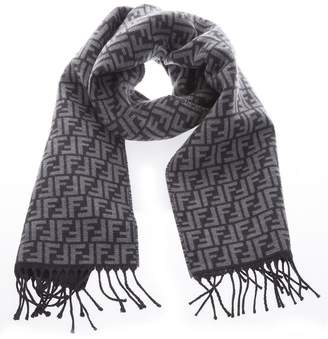 Fendi Anthacite Pure Wool Scarf With Monogram