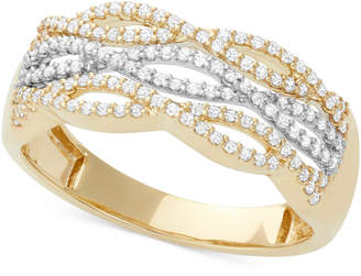 Macy's Diamond Cutout Band (1/3 ct. t.w.) in 14k White and Yellow Gold