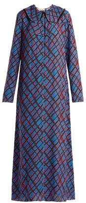 Marni Geometric Print Maxi Dress - Womens - Blue Print