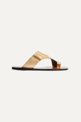 Atelier ATP Roma Cutout Metallic Leather Sandals - Gold