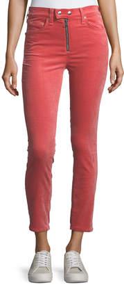 Rag & Bone Dojo High-Rise Stretch-Velvet Cigarette-Leg Jeans