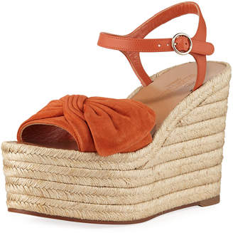 Valentino Leather Ankle-Strap Wedge Espadrilles