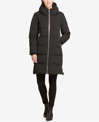 DKNY Hooded Cinch Bottom Cocoon Puffer Coat