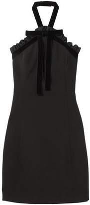 Michael Kors Velvet-trimmed Bow-embellished Twill Halterneck Mini Dress