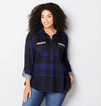 Avenue Embellished Pocket Plaid Shirt