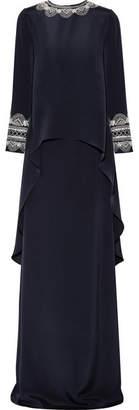 Oscar de la Renta - Asymmetric Embroidered Silk Gown - Midnight blue $4,590 thestylecure.com