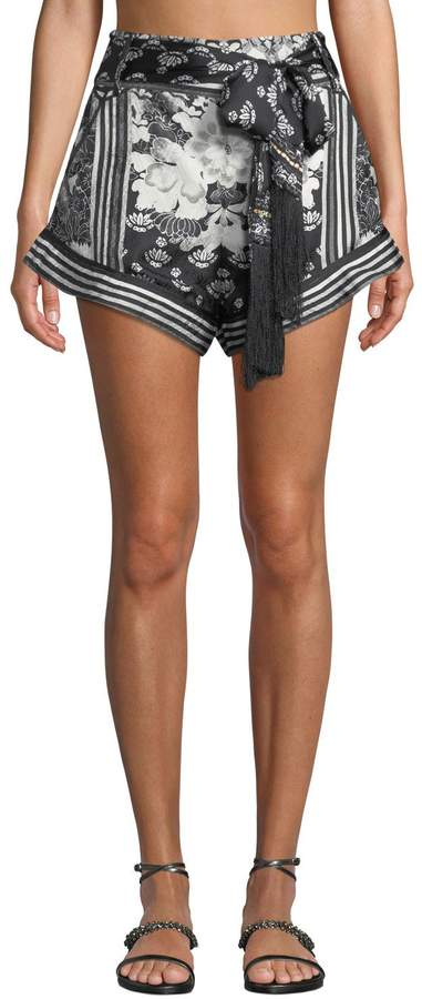 Tie-Front High-Cut Floral Silk Coverup Shorts