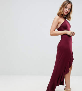Asos Ruffle Thigh Spilt High Neck Maxi Dress