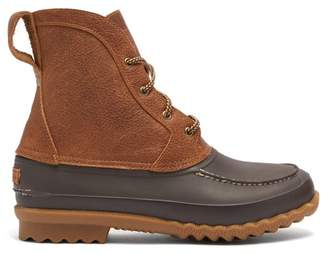Quoddy Bi Colour Rubber And Leather Field Boots - Mens - Dark Brown