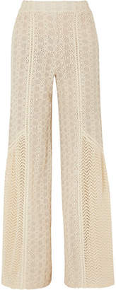 Jonathan Simkhai Crocheted Cotton-blend Gauze Wide-leg Pants - Ecru