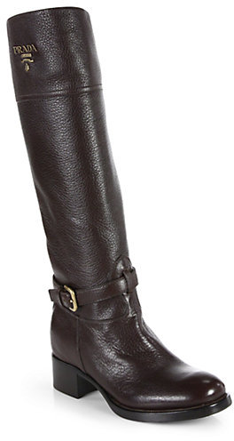 Prada Textured Leather Knee-High Boots
