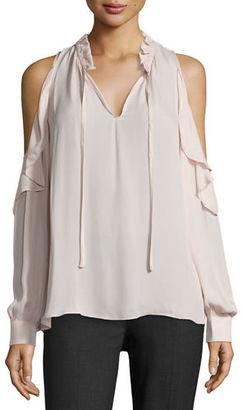 Parker Marjorie Cold-Shoulder Silk Ruffle Blouse $220 thestylecure.com