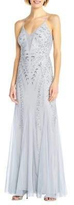 Adrianna Papell Beaded Mesh Long Dress