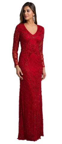 Dresses By Lara Glimmering Red Gown