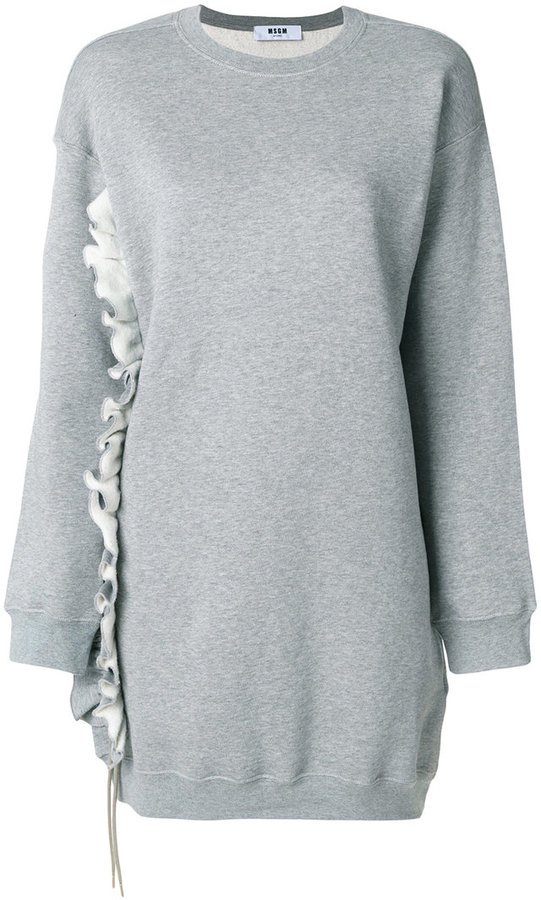 MSGM ruffle trim sweatshirt dress