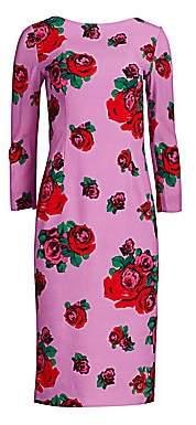 Lela Rose Women's Textured Crepe Full Sleeve Pencil Dress