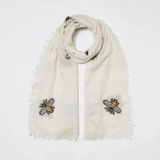 River Island Womens Cream bee embroidered scarf