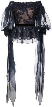 Marchesa off-shoulder lace top