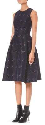 Carolina Herrera Floral Jacquard A-Line Dress