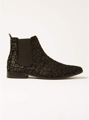 Topman Mens Grey Gray Leopard Fisco Chelsea Boots