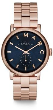 Marc by Marc Jacobs Baker Rose Goldtone Stainless Steel Bracelet Watch/Navy $225 thestylecure.com
