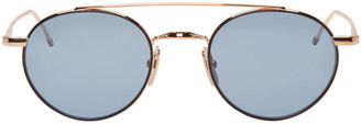 Thom Browne Gold TB 101 Sunglasses $575 thestylecure.com