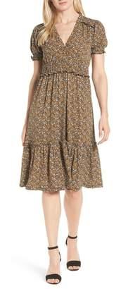 MICHAEL Michael Kors Smocked Ruffle Midi Dress