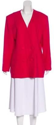 Christian Dior Wool Collarless Coat Wool Collarless Coat