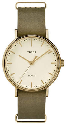 Timex Analog Weekender Fairfield Goldtone Leather Strap Watch