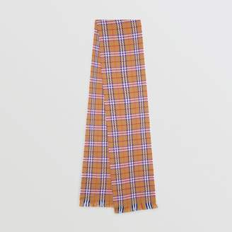 Burberry Check Merino Wool Scarf, Yellow