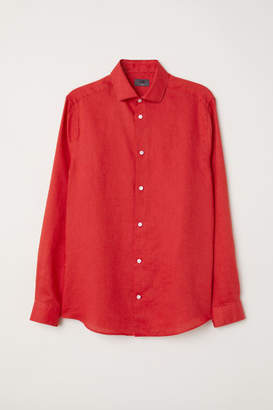 H&M Linen Shirt Slim fit - Red