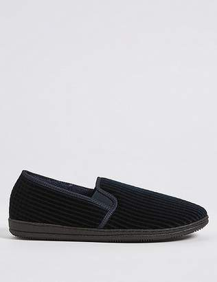 "Marks and Spencer Big & Tall Corduroy Slippers with Freshfeetâ""¢"