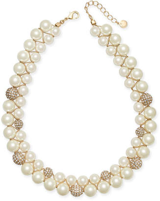 "Charter Club Gold-Tone Pave Bead & Imitation Pearl Double-Row Collar Necklace, 17"" + 2"" extender"