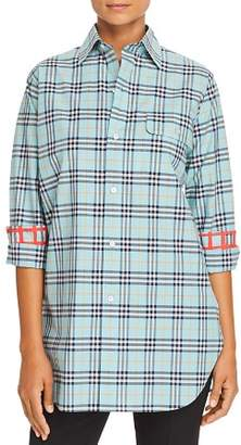 Burberry Crow Plaid Button-Down Top