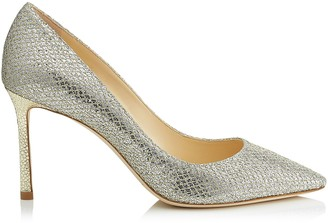 Jimmy Choo ROMY 85 Champagne Glitter Fabric Pointy Toe Pumps